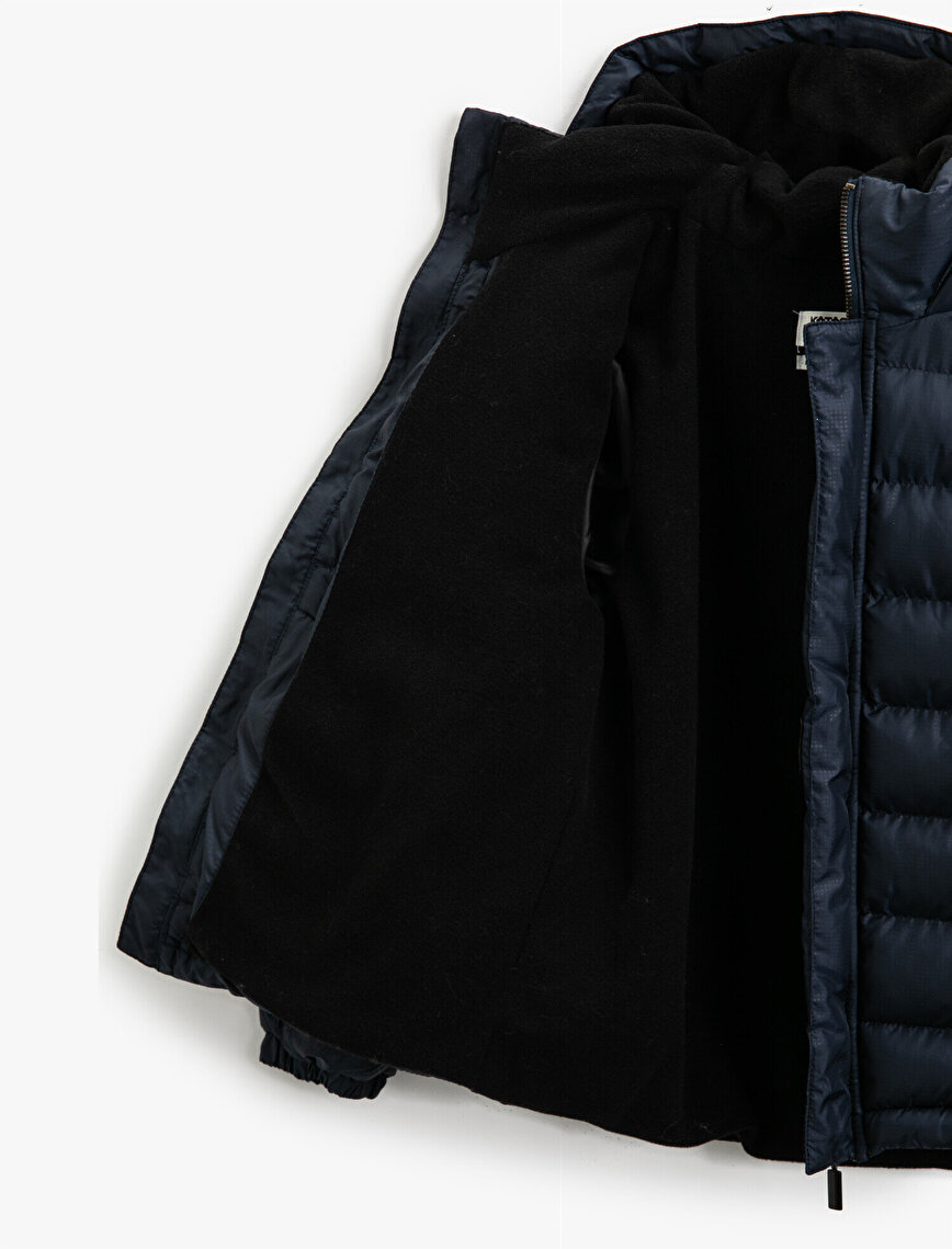 Hooded Pocket Detailed High Neck Zipper Puffer Coat