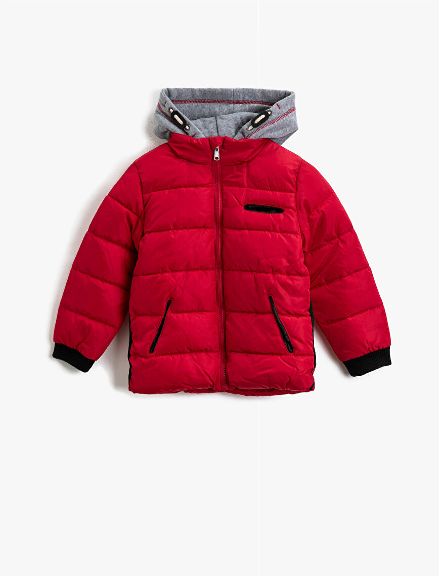 Hooded Zipper Detailed Puffer Coat