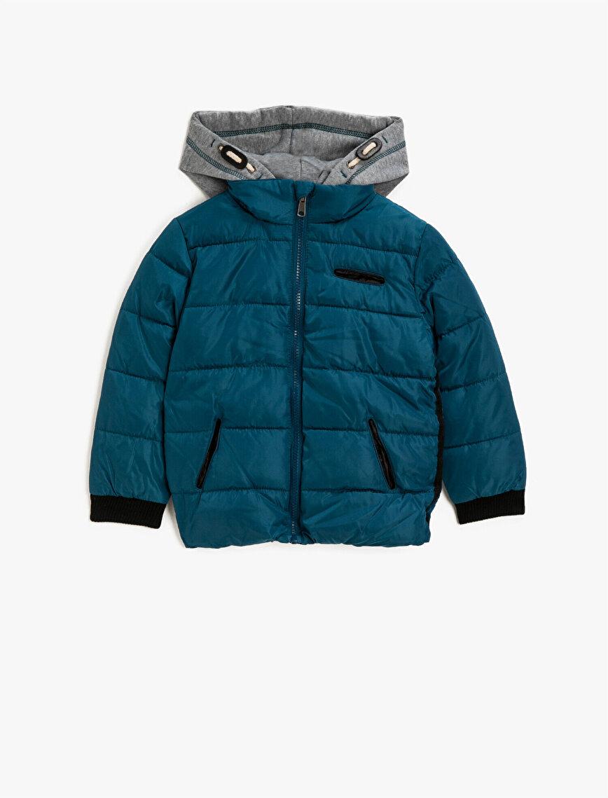 Hooded Zipper Detailed Puffer Coat