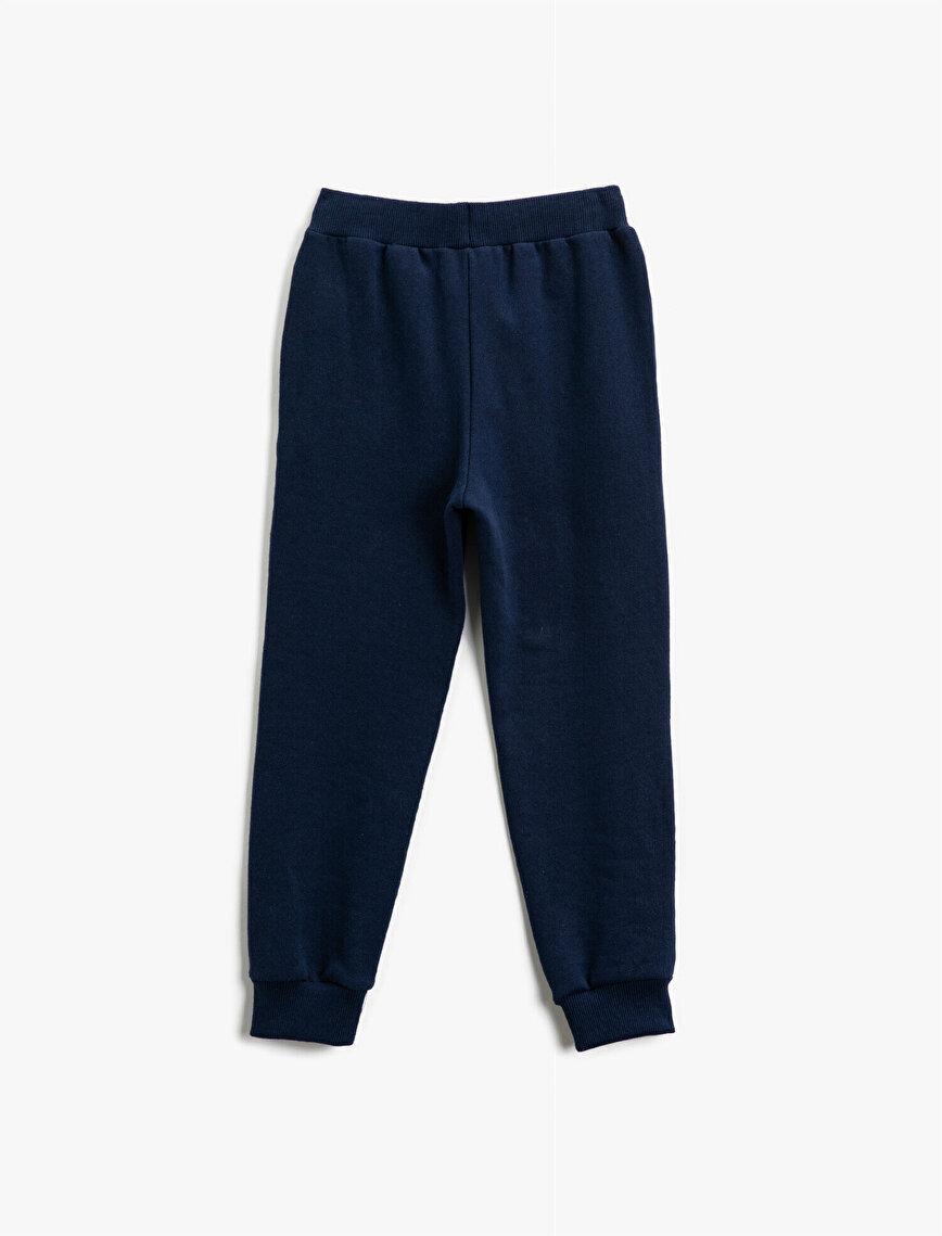 Strap On Letter Printed Medium Rise Jogging Pants