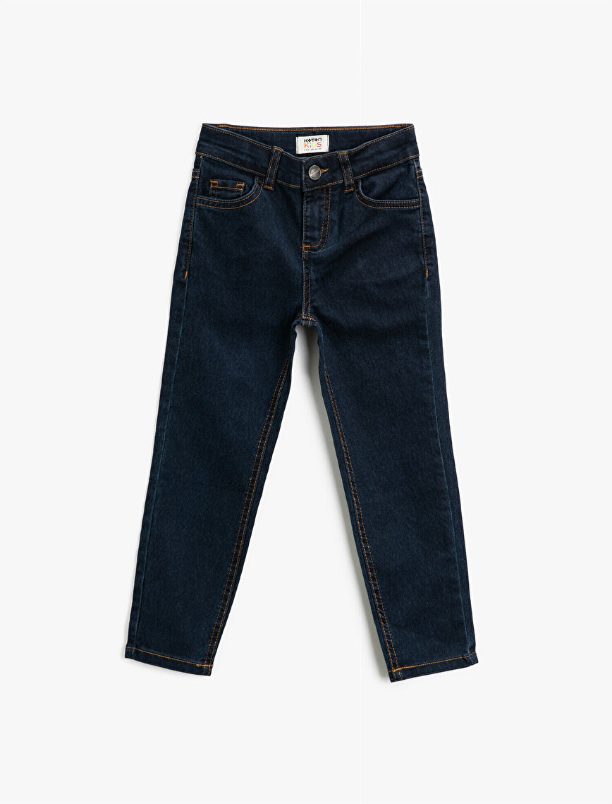 Slim Fit Comfort Strech Cotton Pocket Detailed Jeans