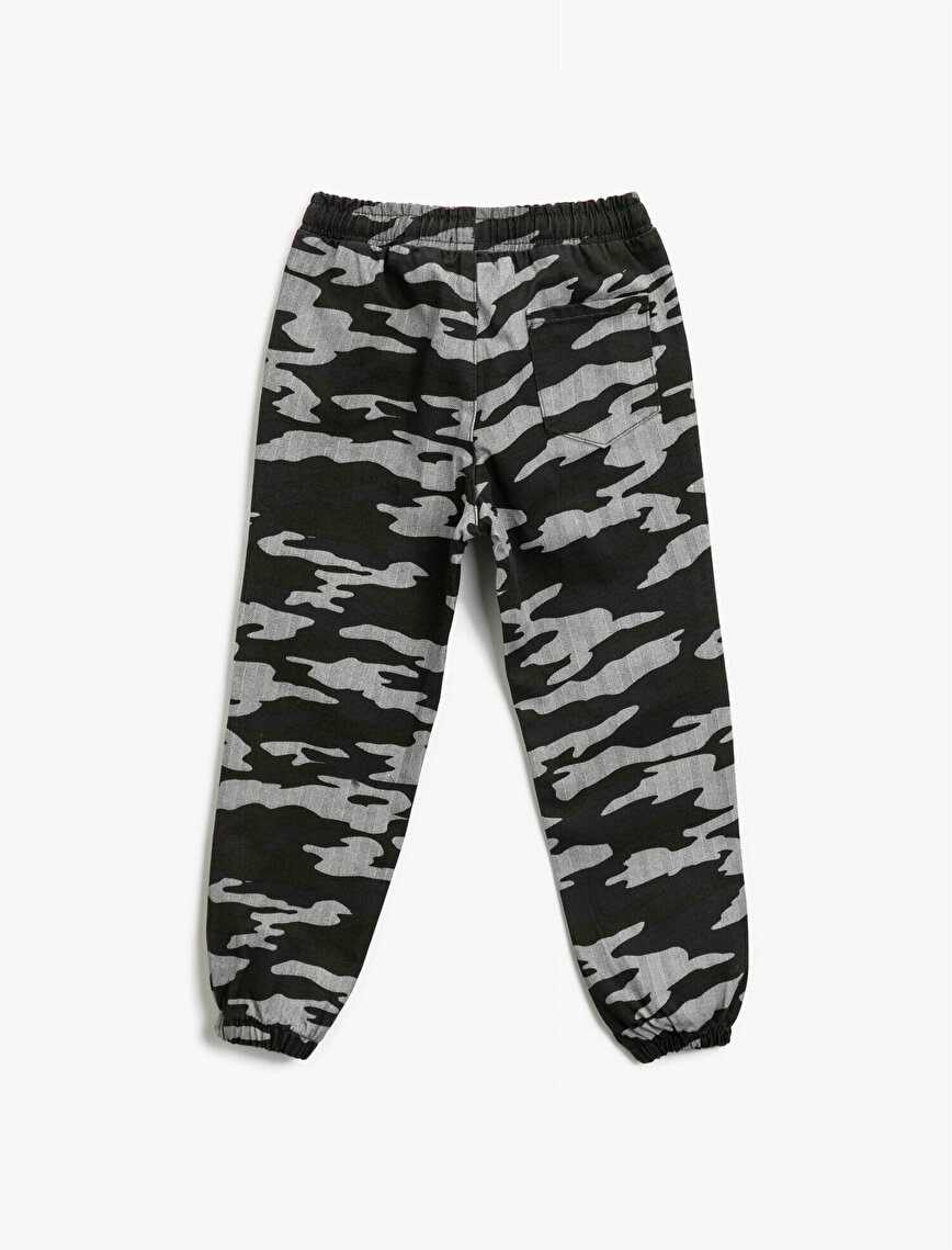 Cotton Camouflage Patterned Drawstring Trousers