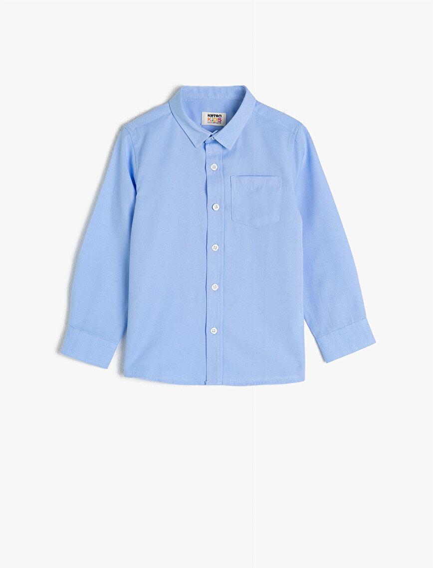 Pamuklu Klasik Yaka Uzun Kollu Cepli Basic Gömlek