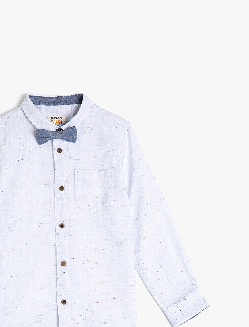 Uzun Kollu Pamuklu Kumaştan Papyonlu Gömlek