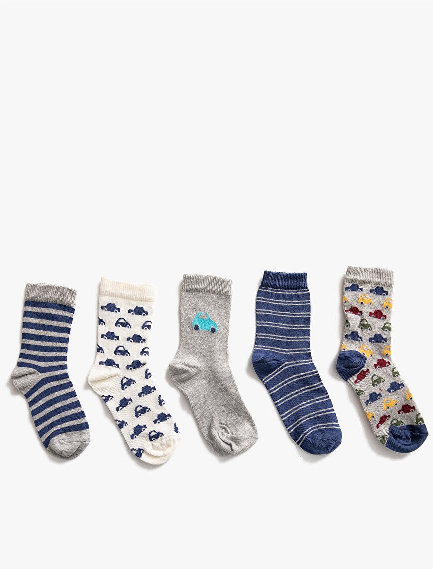 Erkek Çocuk 5'li Çizgili Desenli Çorap Seti