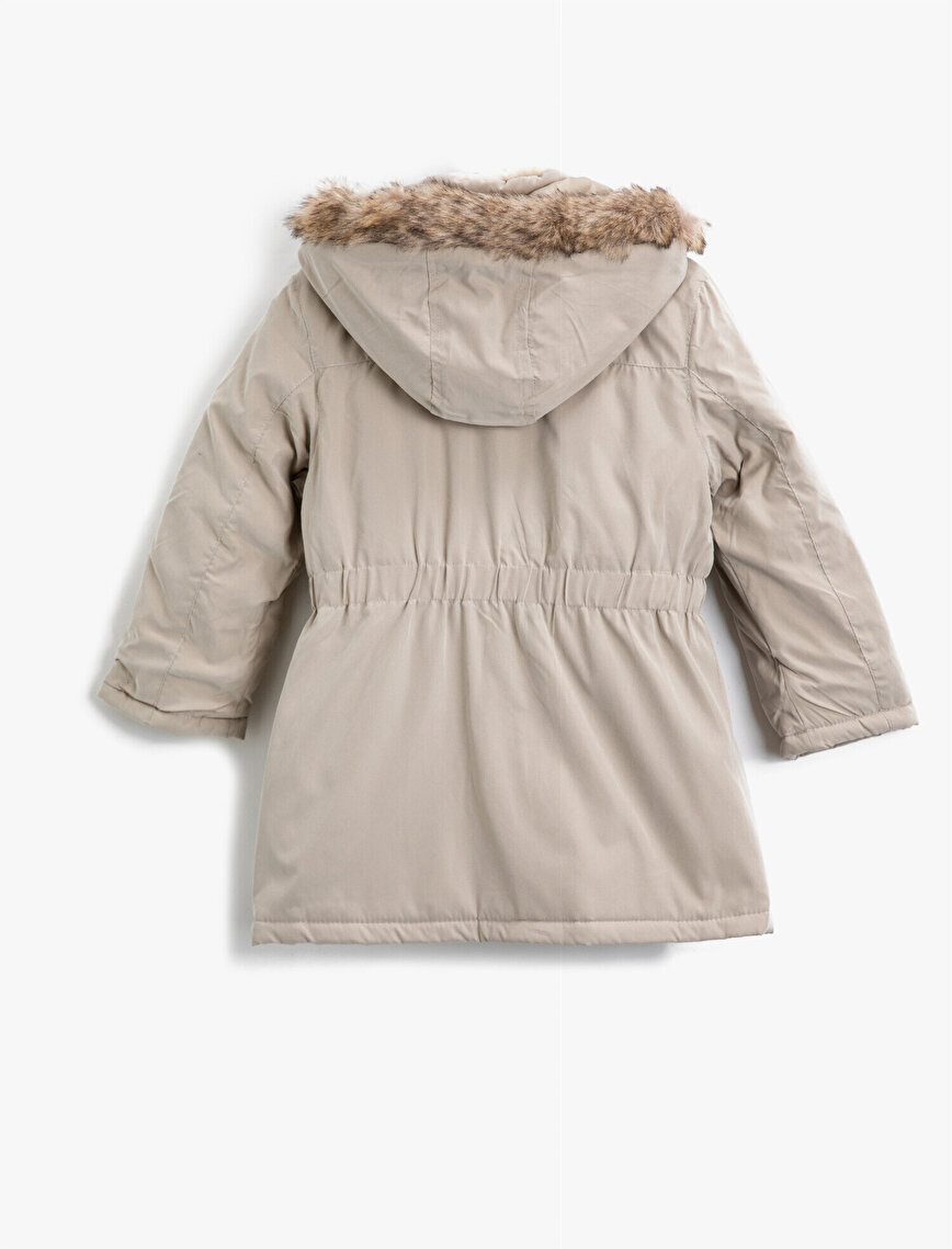 Faux Fur Hooded Button Pocket Detailed Coat