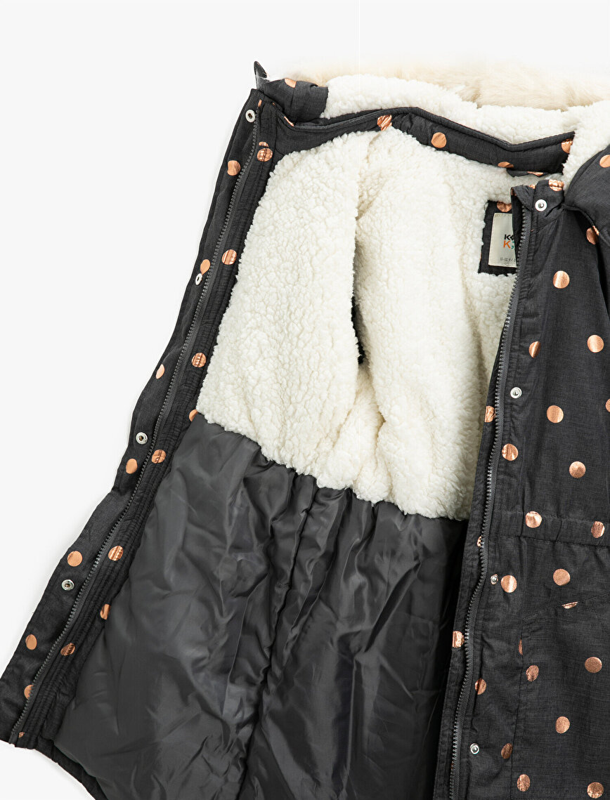 Hooded Inside Plus Lined Dotted Dotted Pocket Coat