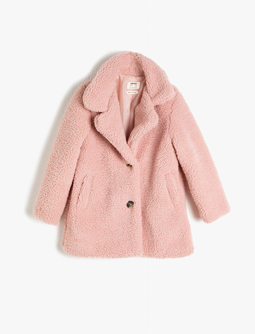 Plush Button Detailed Lined Coat