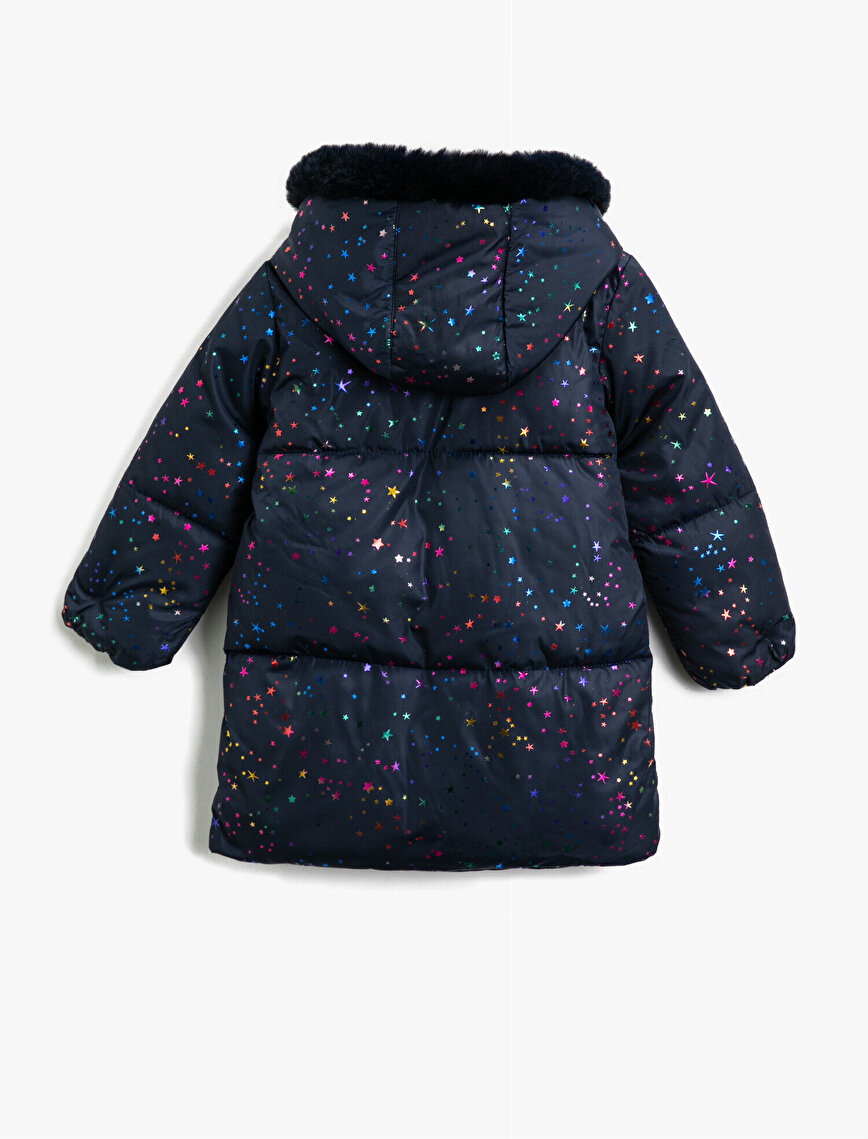Faux Fur Hooded Printed Pocket Detailed Coat