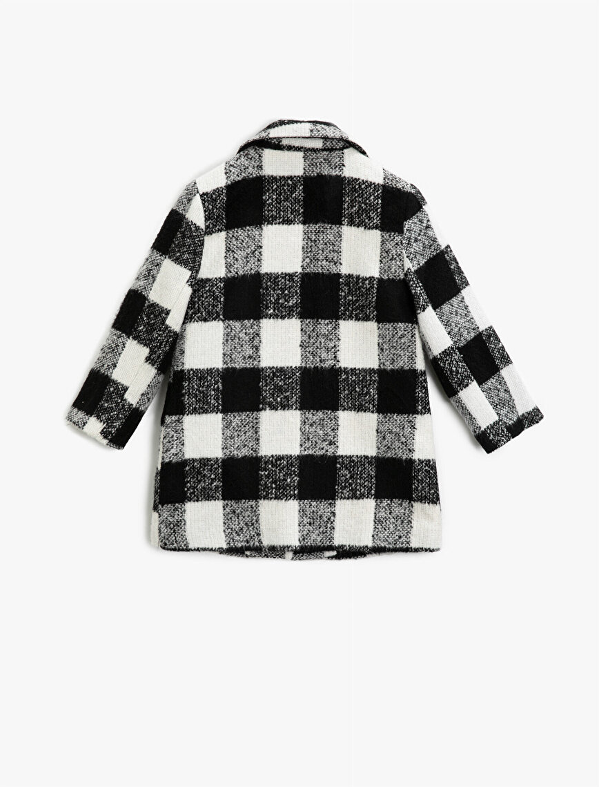 Button Pocket Detailed Checked Inside Lined Coat