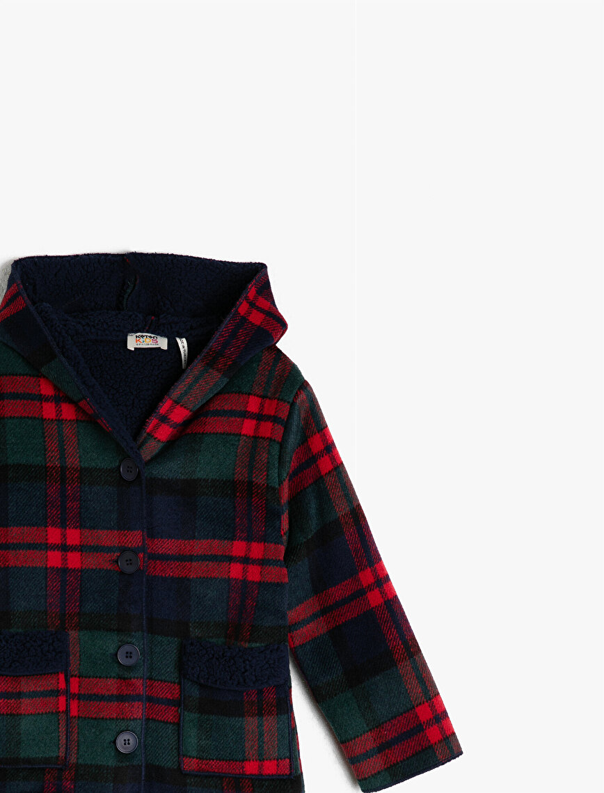 Hooded Checked Pocket Detailed Coat