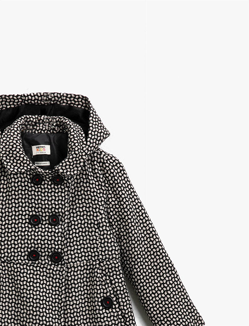 Patterned Hooded Button Detailed Coat