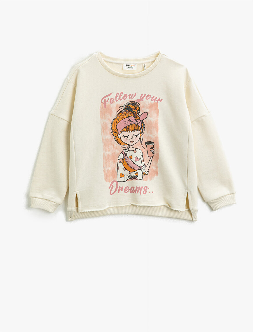 Cotton Crew Neck Printed Long Sleeve Sweatshirt