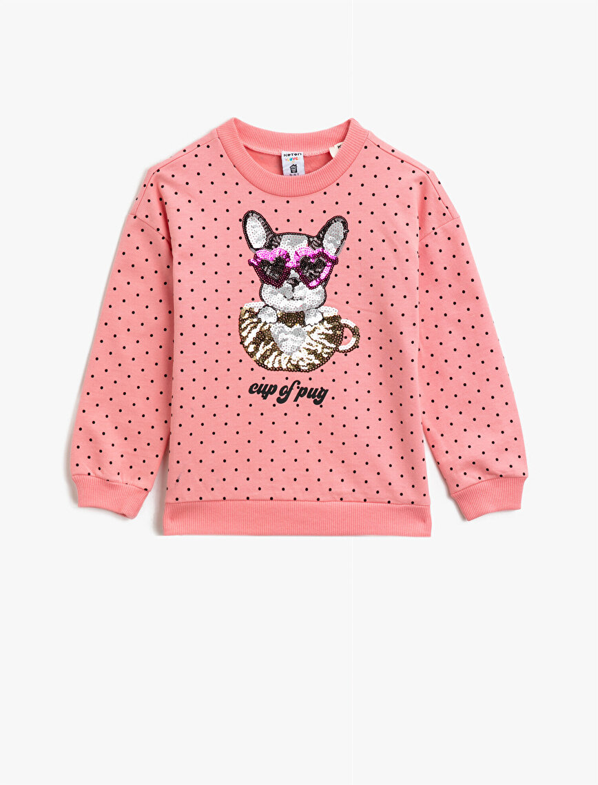 Sequinned Cotton Dotted Long Sleeve Crew Neck Sweatshirt