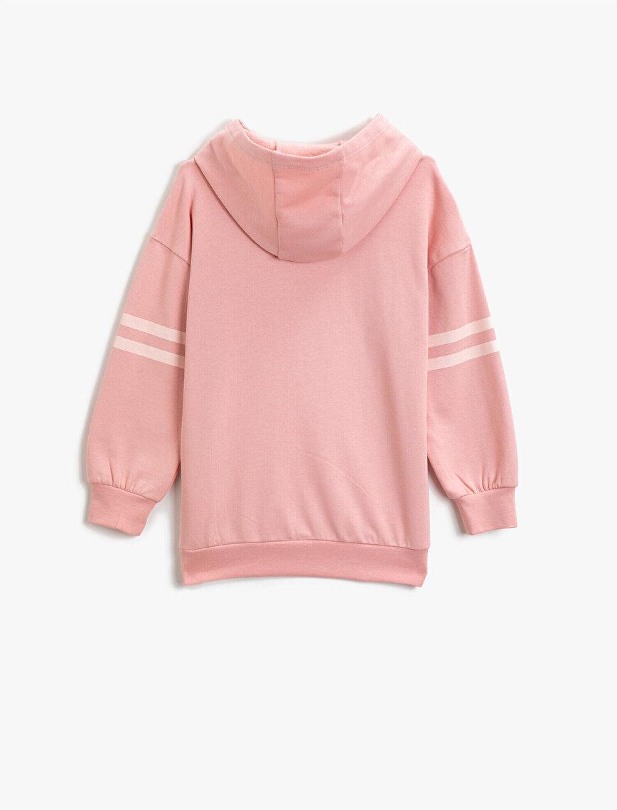 Organic Cotton Letter Printed Long Sleeve Hooded Sweatshirt