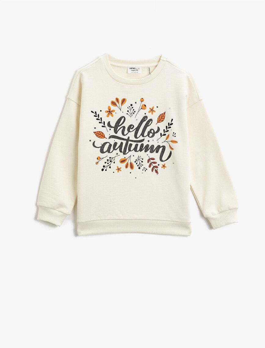 Organic Cotton Letter Printed Crew Neck Sweatshirt