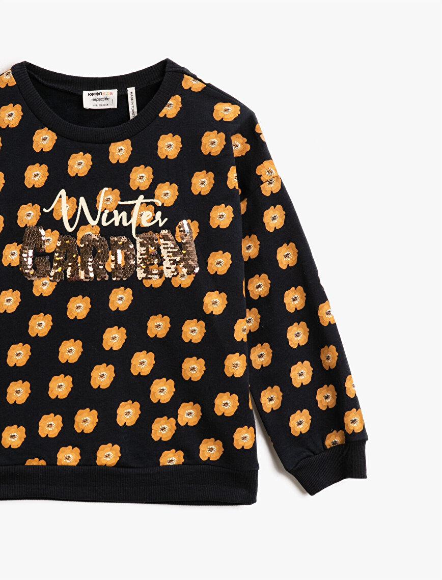 Floral Printed Sequinned Cotton Crew Neck Sweatshirt