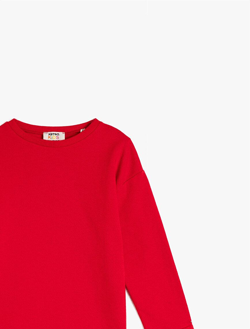 %100 Pamuk Bisiklet Yaka Uzun Kollu Sweatshirt
