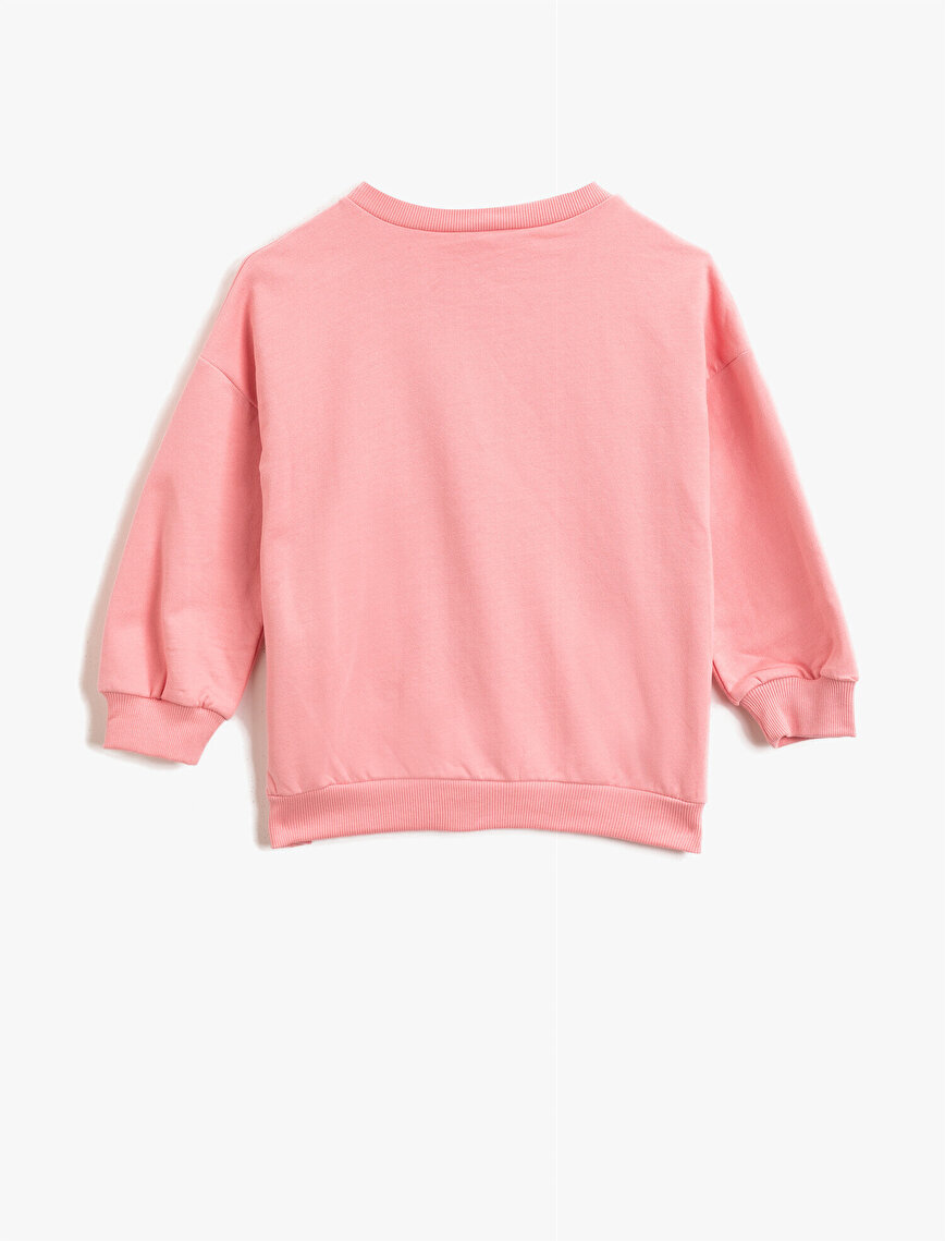Cotton Sequinned Crew Neck Sweatshirt