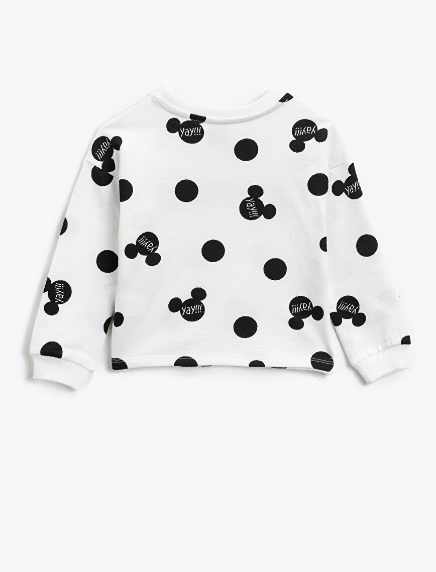 Minnie Mouse Licensed Printed Sequinned Crew Neck Cotton Sweatshirt