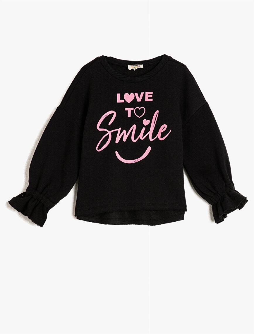 Fırfırlı Uzun Kollu Yazılı Baskılı Sweatshirt