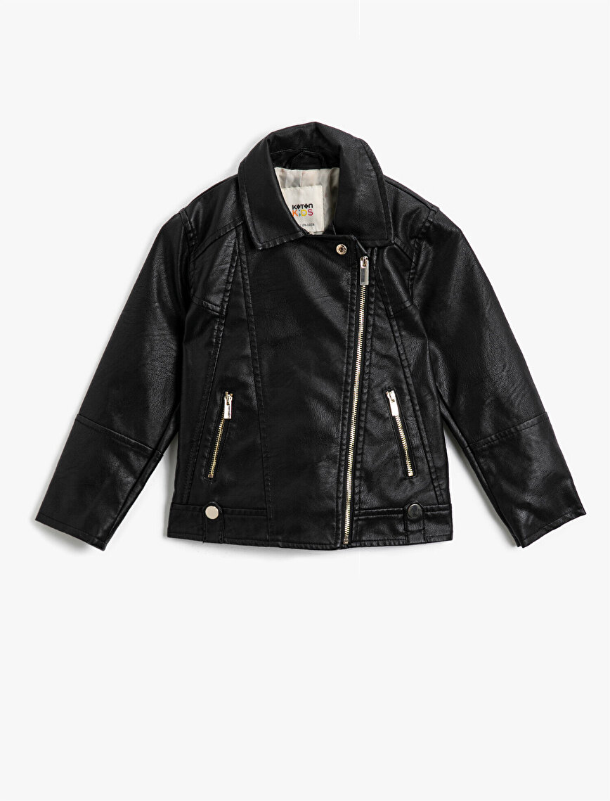 Zipper Detailed Classic Collar Pocket Faux Leather Jacket