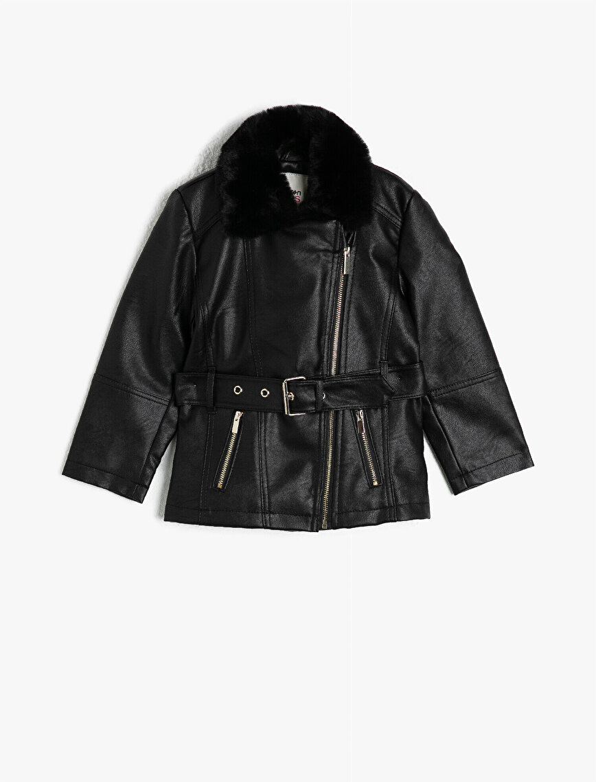Faux Leather Neck Detailed Belt Detailed Jacket
