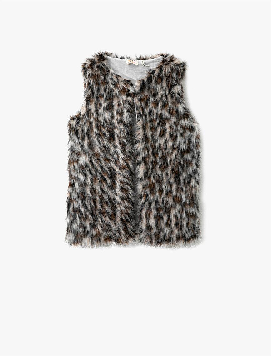 Leopard Patterned Plush Crew Neck Vest