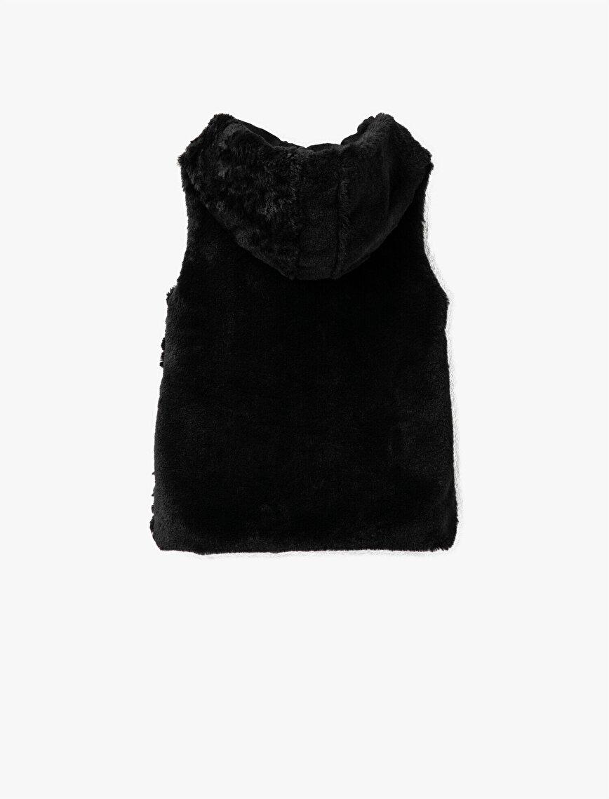 Hooded Zipper Detailed Plush Vest