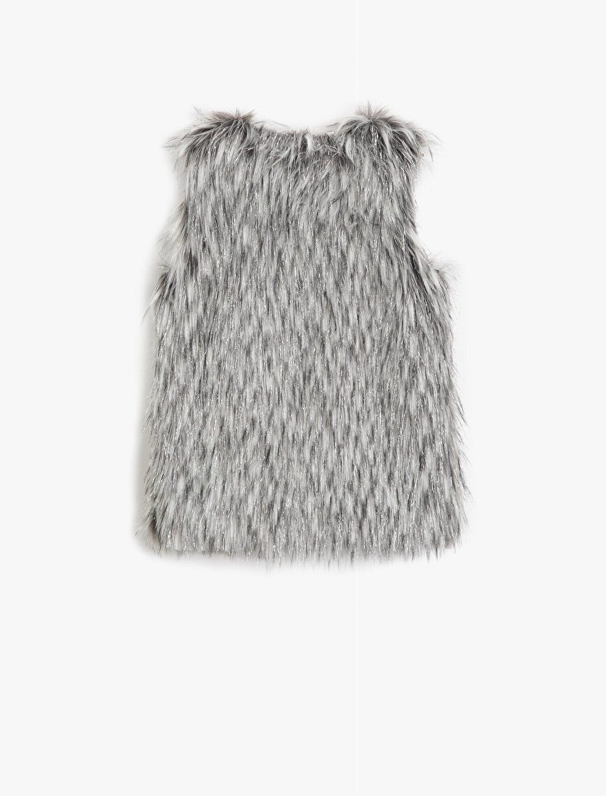 Lined Silvery Faux Furry Vest