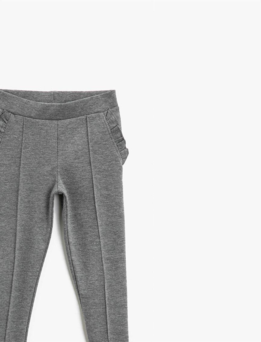 Pocket Detailed Frilled Medium Rise Leggings