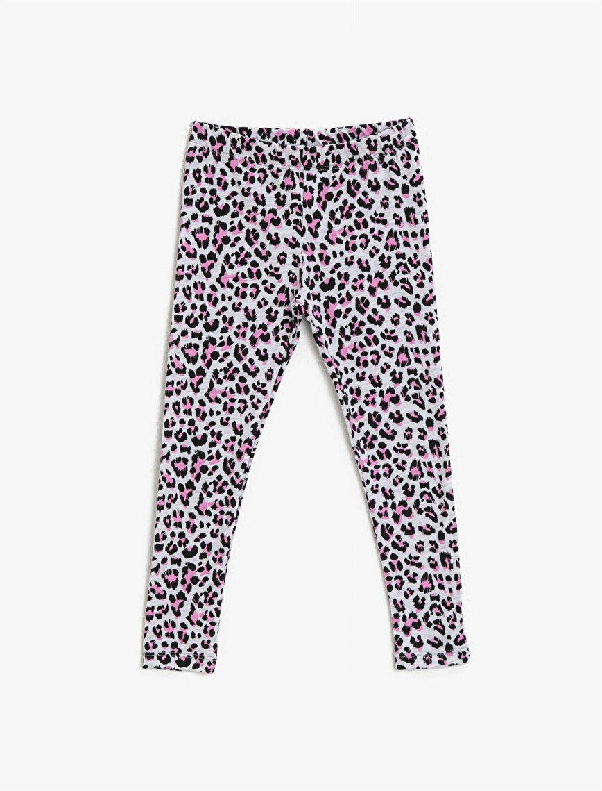 Leopard Patterned Medium Rise Leggings