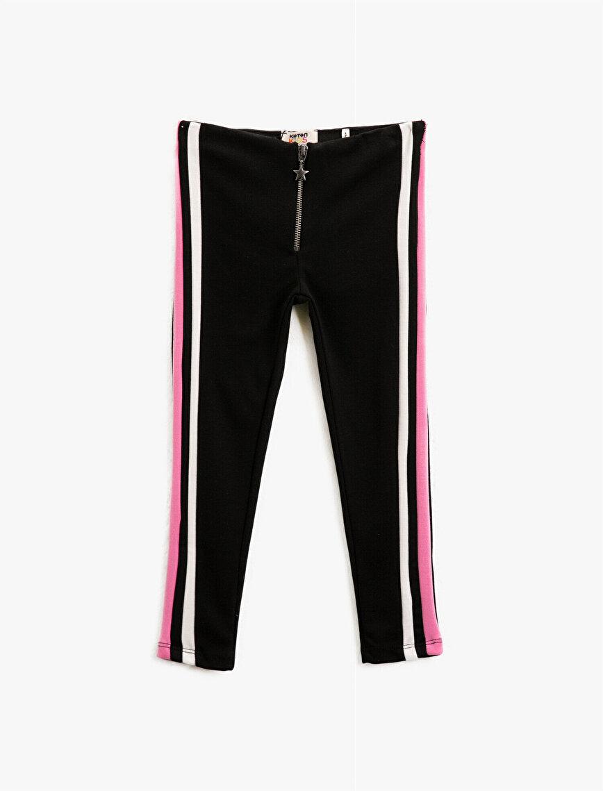 Striped Medium Rise Zipper Detailed Leggings