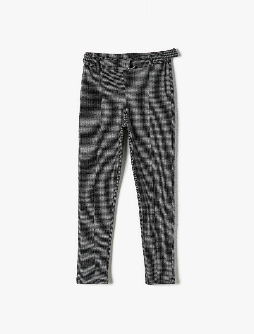 Checked Belted Leggings