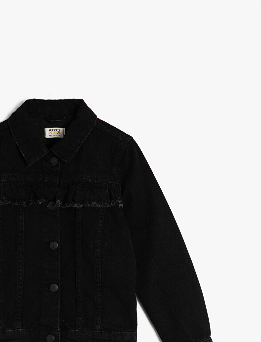 Cotton Frill Detailed Jean Jacket