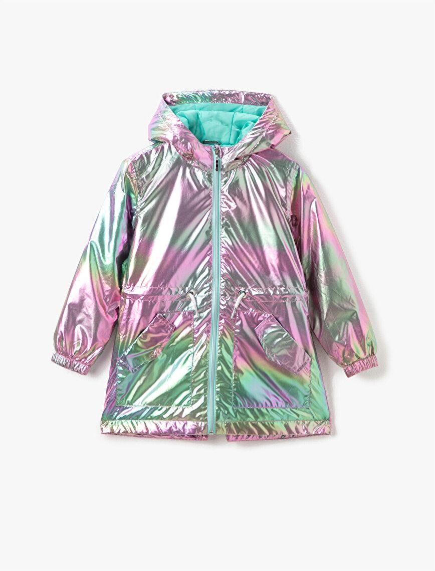 Hooded Zipper Detailed Raincoat