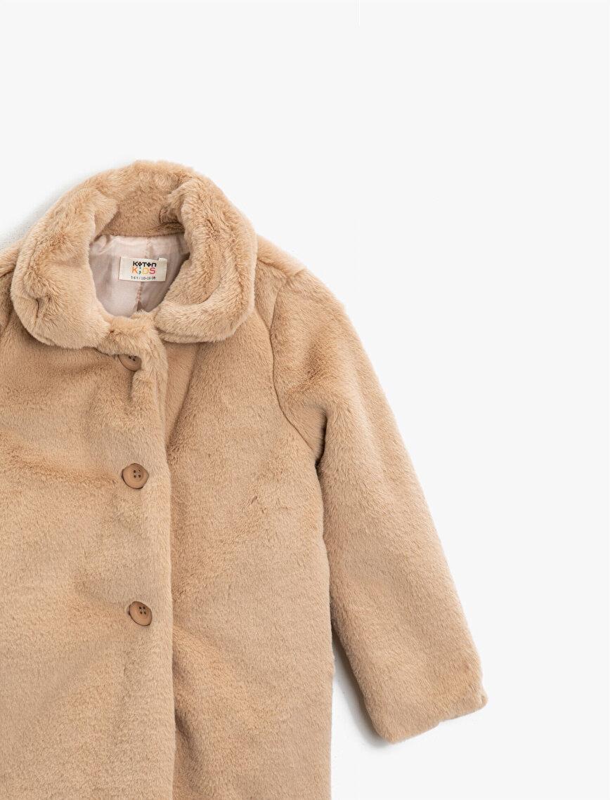 Plush Button Detailed Coat