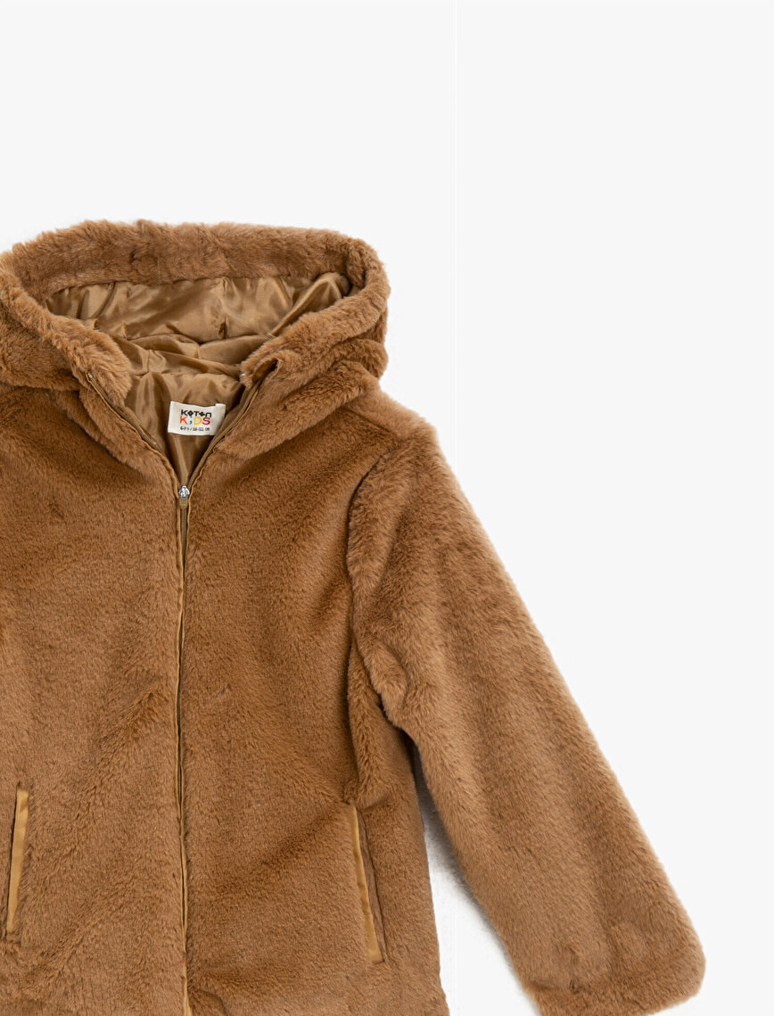 Hooded Zipper Detailed Plush Coat