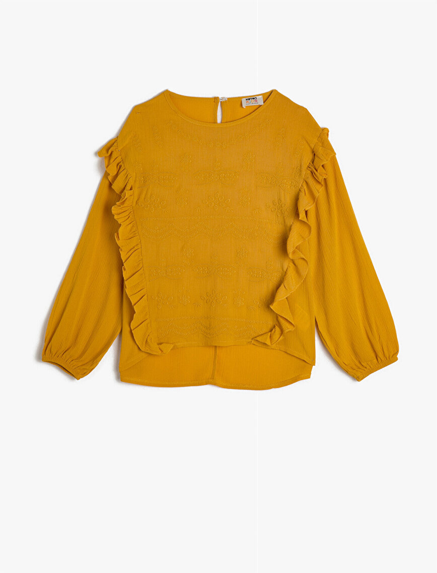 Long Sleeve Crew Neck Frilled Blouse