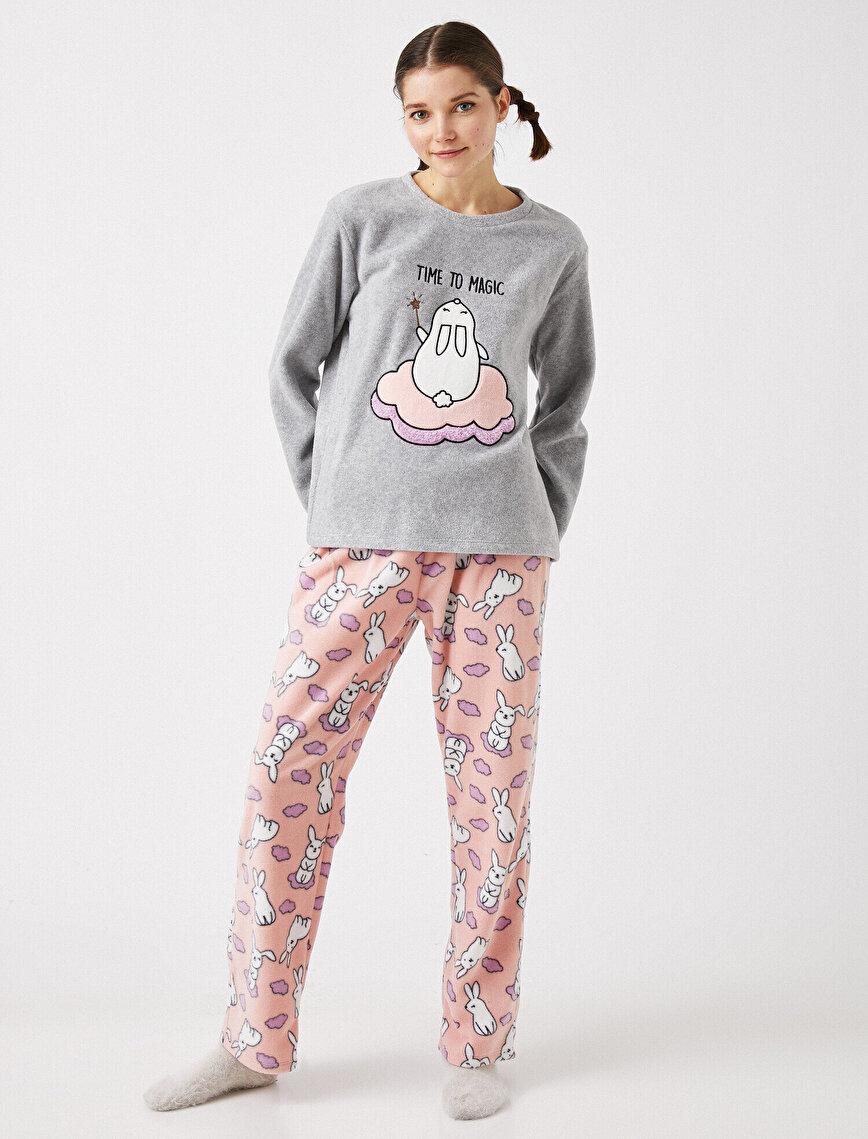 Polar Hayvan Baskılı Pijama Takımı
