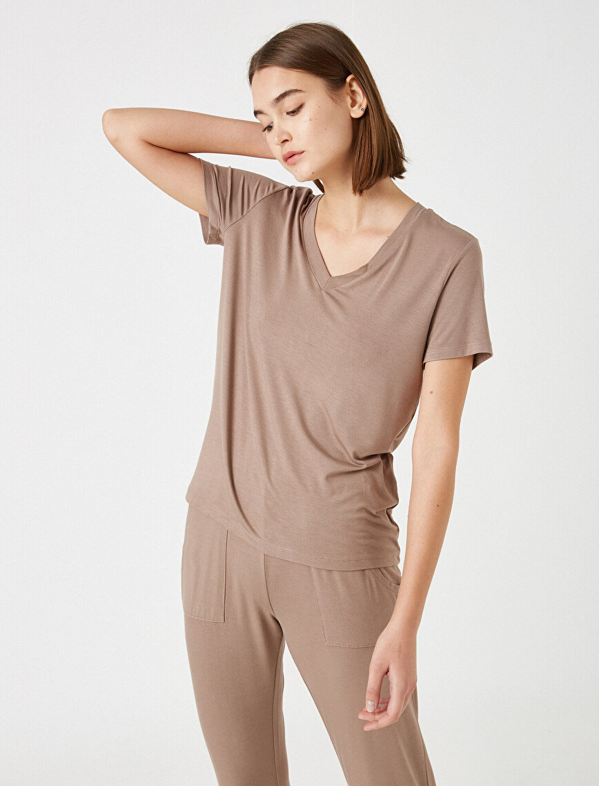 Respect Life   Yaşama Saygı - %100 Viskon V Neck Short Sleeve Pyjamas Top