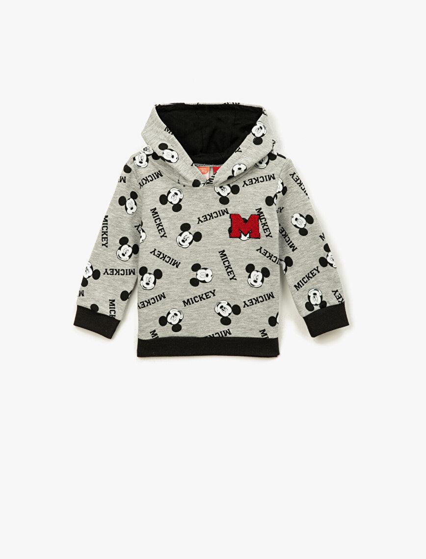 Mickey Mouse Lisanslı Baskılı Kapüşonlu Uzun Kollu Sweatshirt