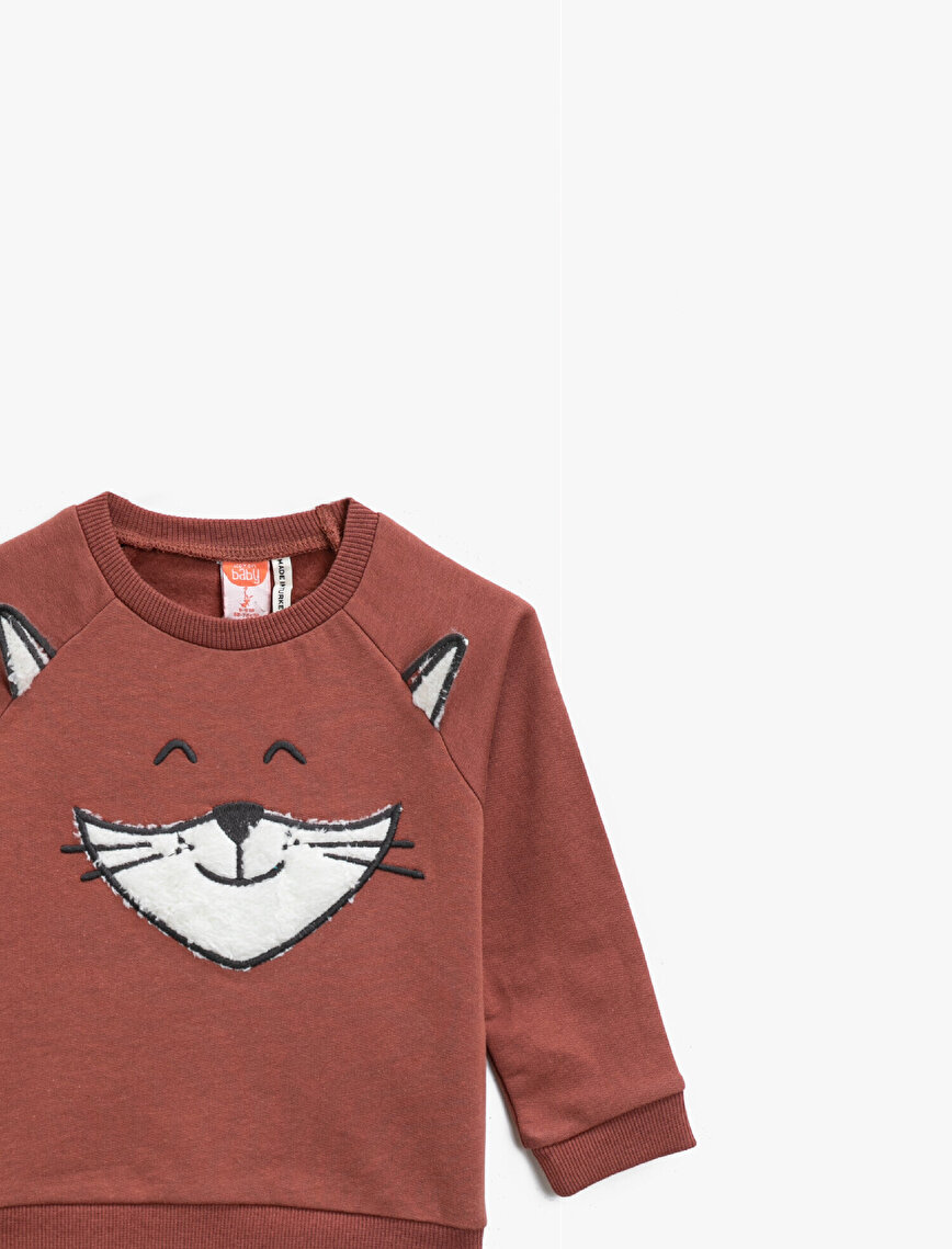Cotton Embellished Crew Neck Sweatshirt