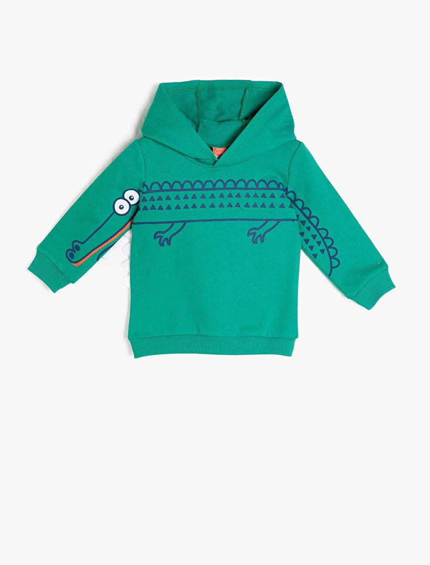 Pamuklu Kapüşonlu Uzun Kollu Baskılı Sweatshirt