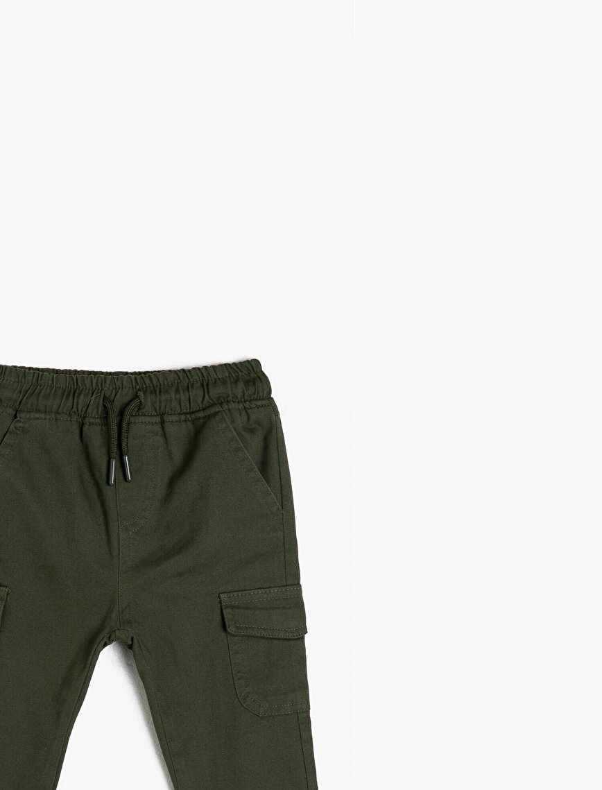 Cotton Medium Rise Pocket Detailed Trousers