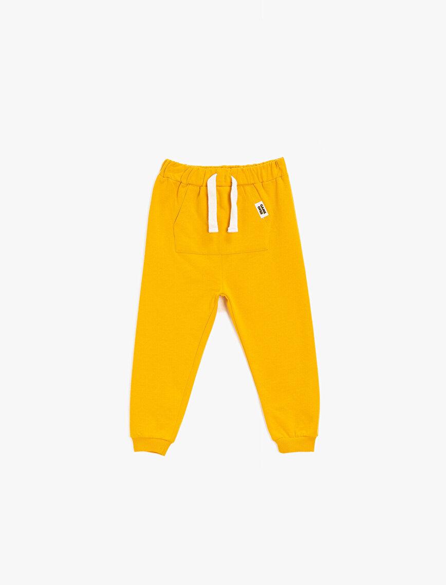 Drawstring Kangaroo Pocket Cotton Jogging Pants