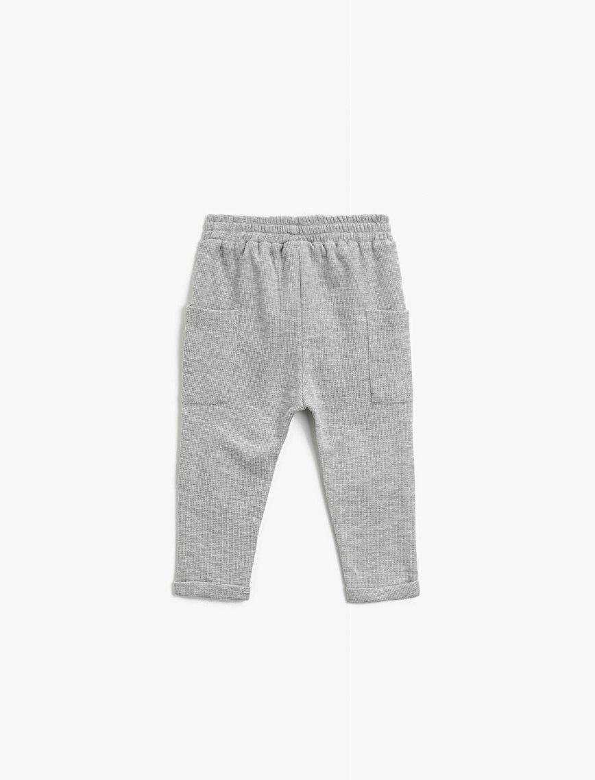 Embellished Cotton Button Detailed Jogging Pants
