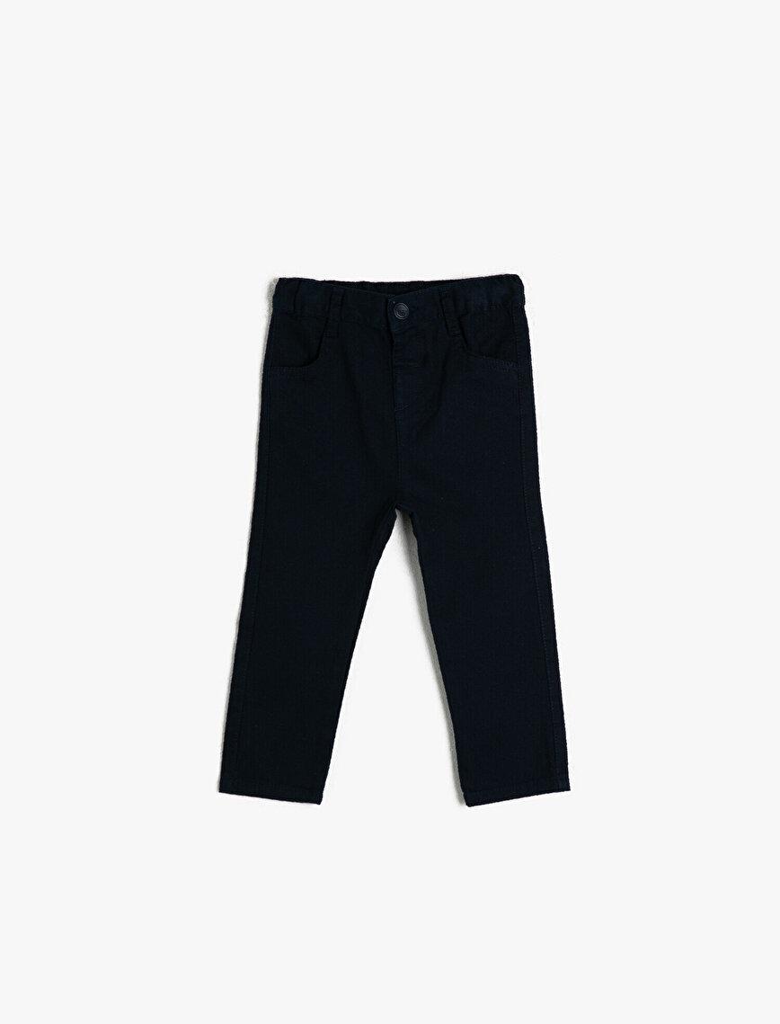 Cotton Basic Medium Rise Trousers