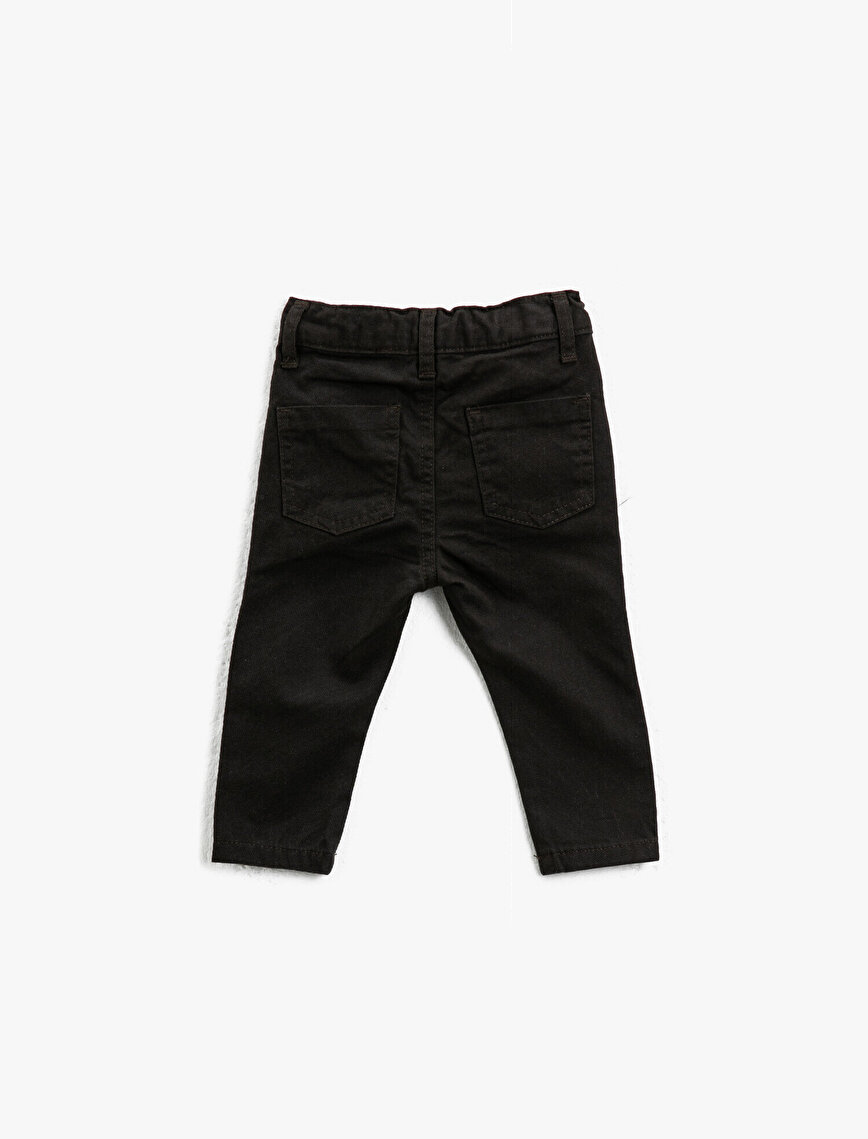 Cotton Medium Rise Button Detailed Trousers