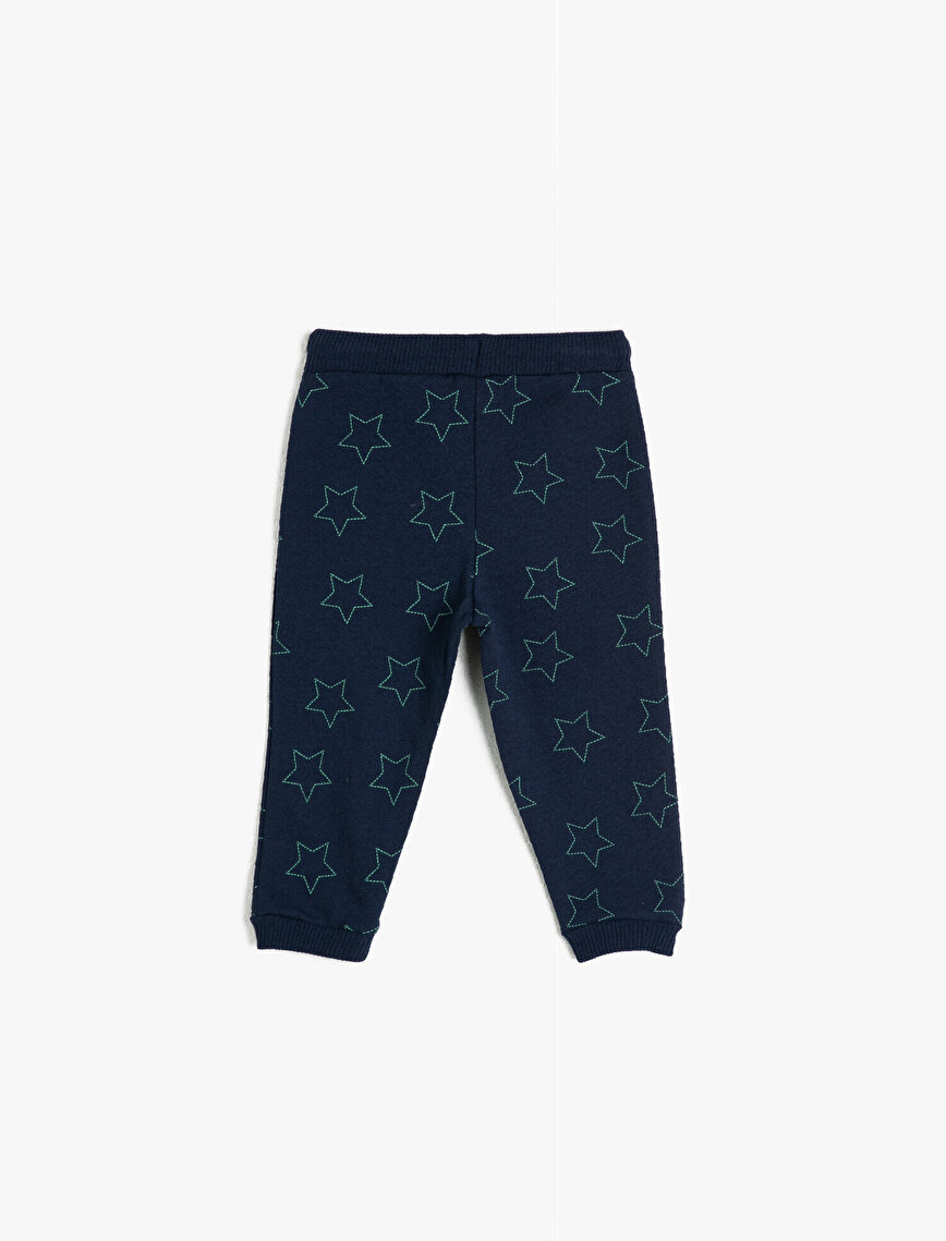 Medium Rise Letter Printed Strap On Jogging Pants